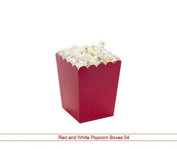 Custom Red and White Popcorn Packaging Box